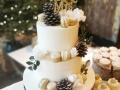 white winter themed buttercream cake