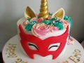 Unicorn cake with Owlette mask from PJ Mask
